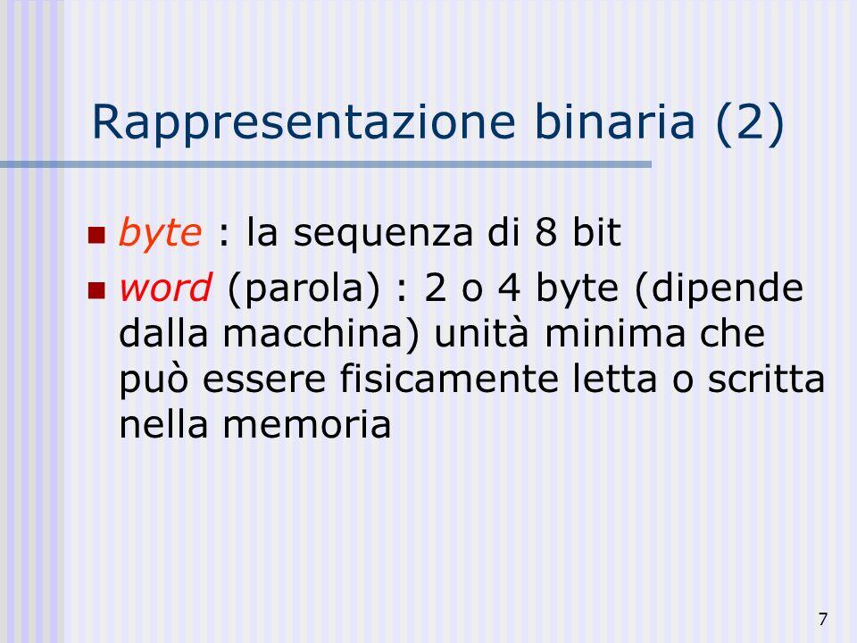 Rappresentazione binaria (2)