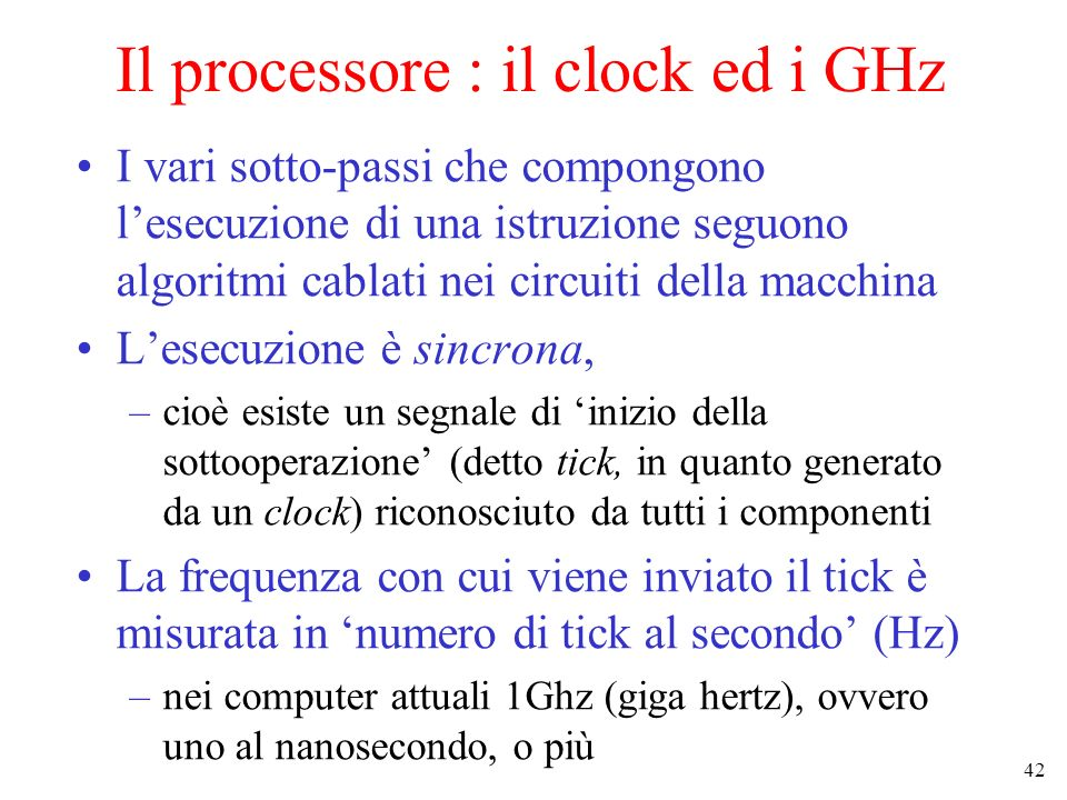 Il processore : il clock ed i GHz