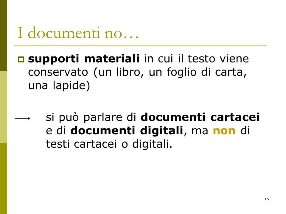 I documenti no… supporti materiali in cui il testo viene conservato (un libro, un foglio di carta, una lapide)