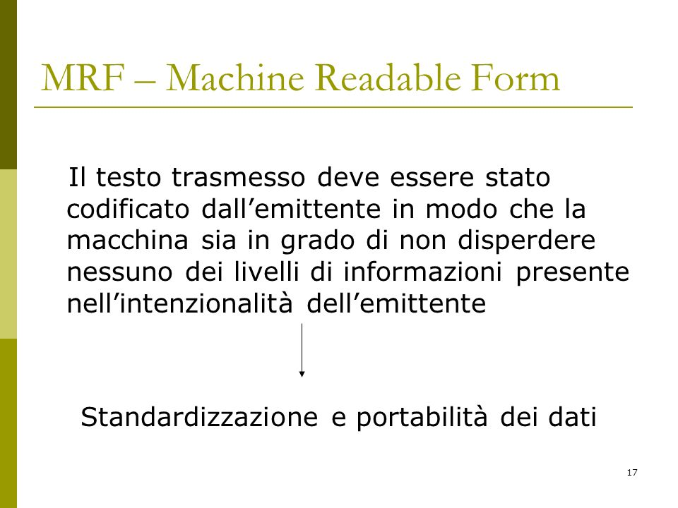MRF – Machine Readable Form