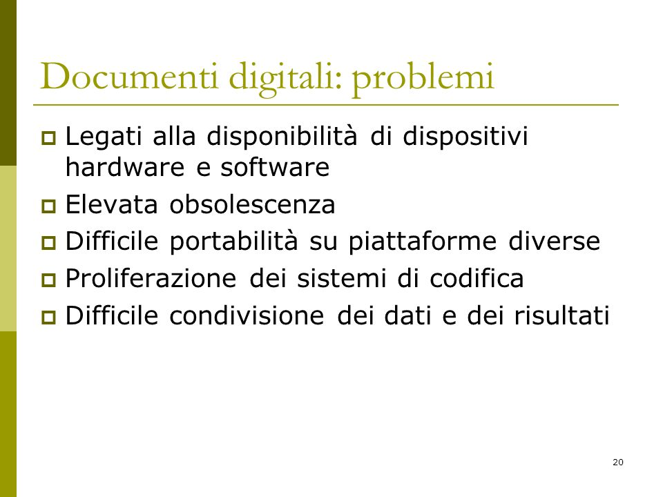Documenti digitali: problemi