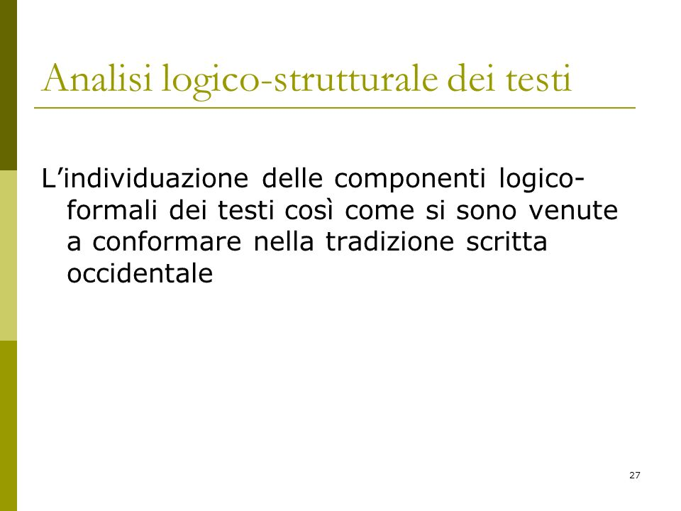 Analisi logico-strutturale dei testi