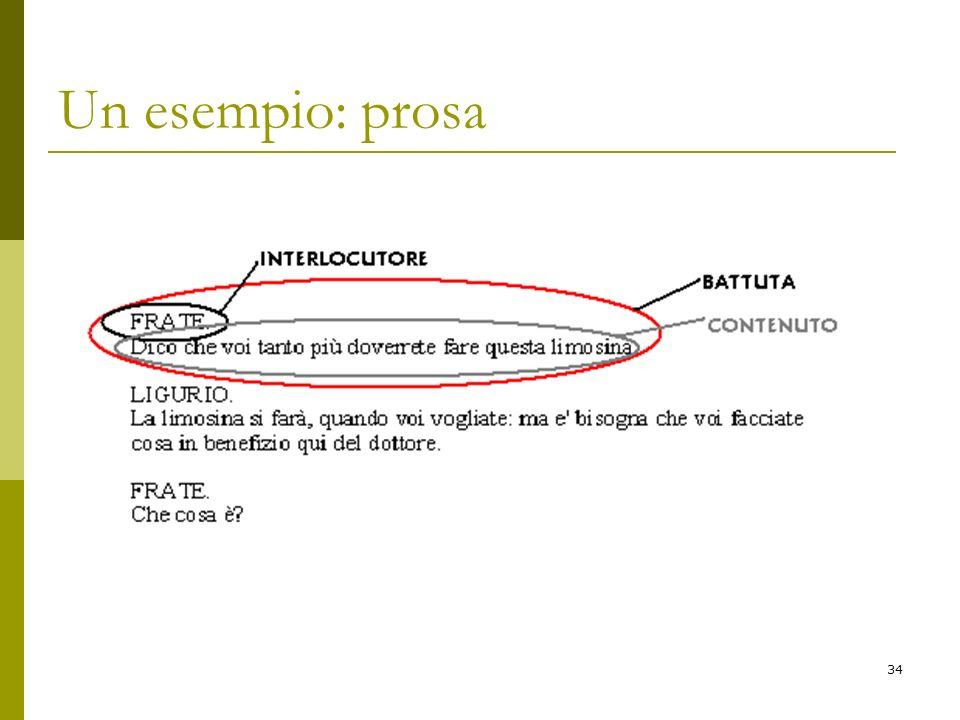 Un esempio: prosa