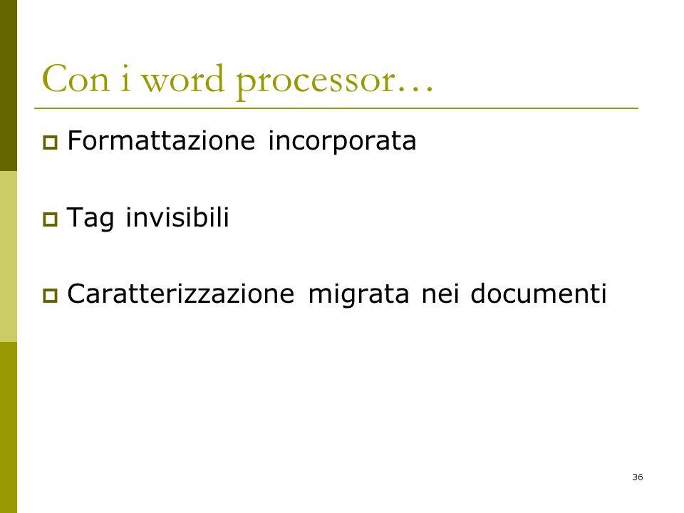 Con i word processor… Formattazione incorporata Tag invisibili