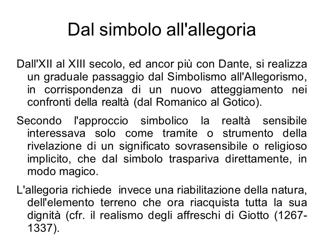 Dal simbolo all allegoria