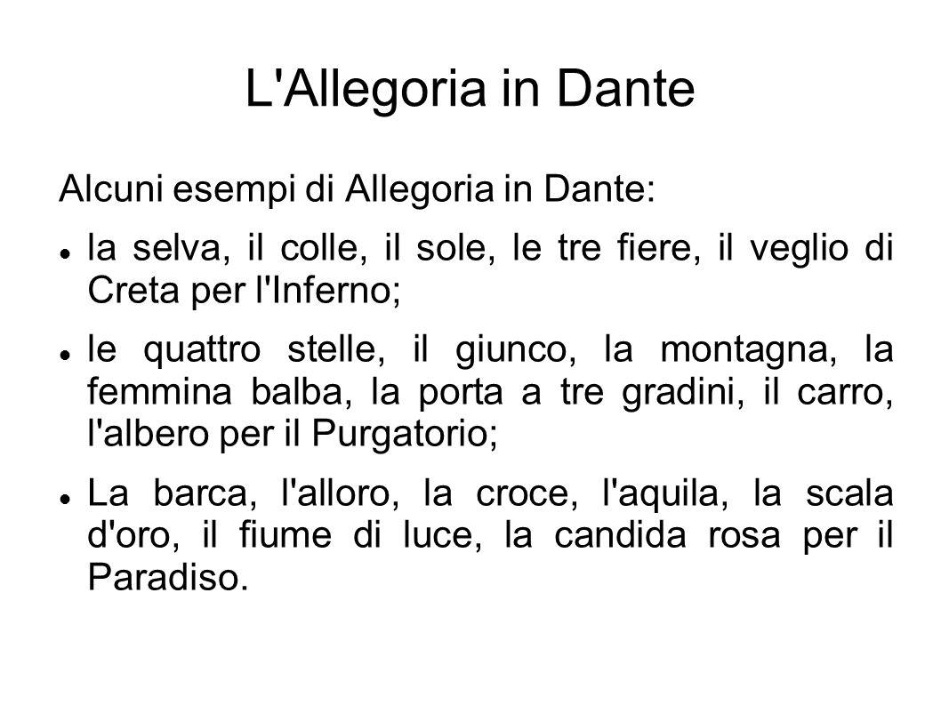 L Allegoria in Dante Alcuni esempi di Allegoria in Dante: