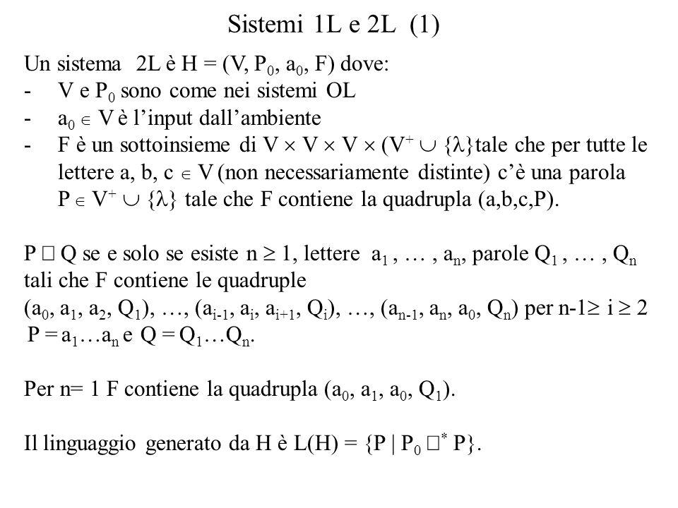 Sistemi 1L e 2L (1) Un sistema 2L è H = (V, P0, a0, F) dove:
