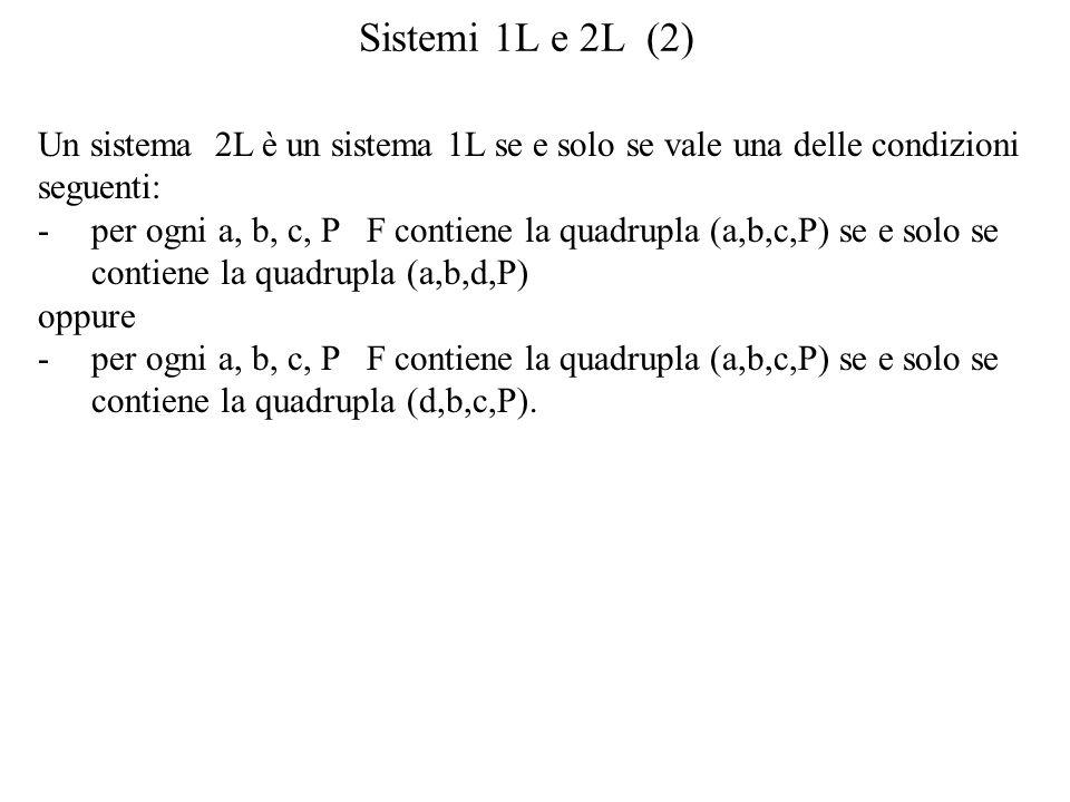 Sistemi 1L e 2L (2) Un sistema 2L è un sistema 1L se e solo se vale una delle condizioni. seguenti:
