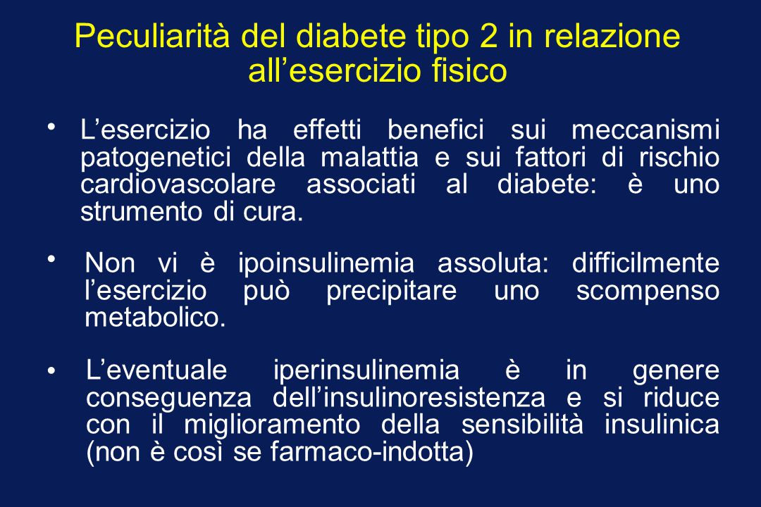 Peculiarità del diabete tipo 2 in relazione all'esercizio fisico