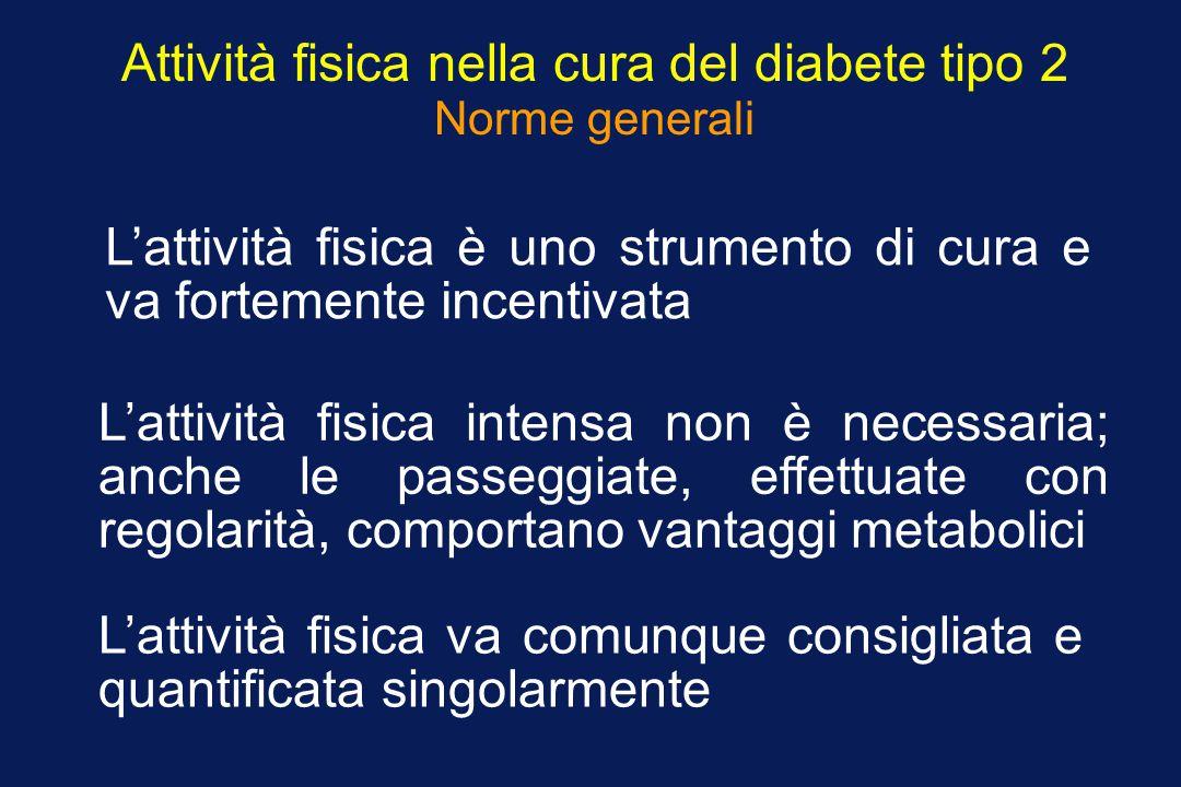 Attività fisica nella cura del diabete tipo 2 Norme generali