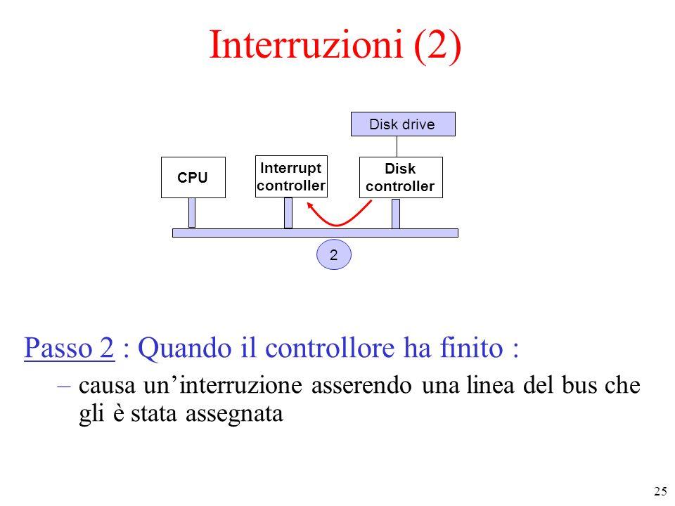 Interruzioni (2) Passo 2 : Quando il controllore ha finito :