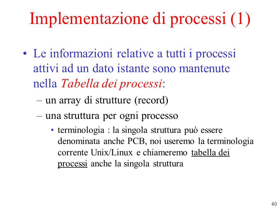 Implementazione di processi (1)
