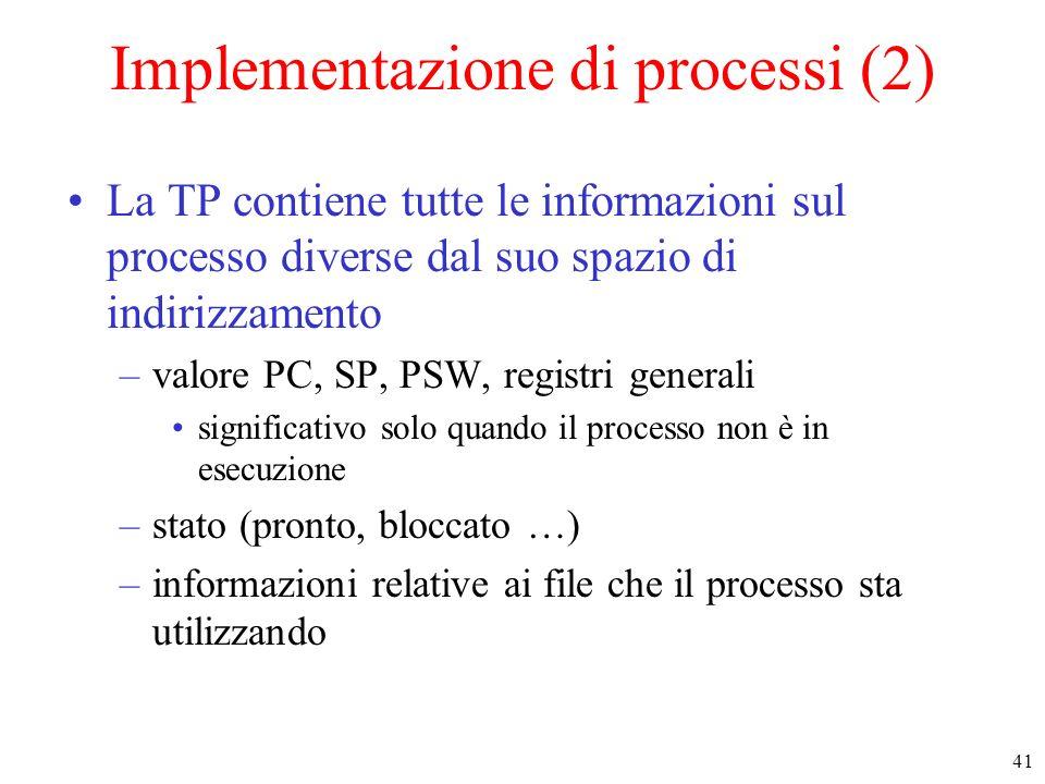 Implementazione di processi (2)