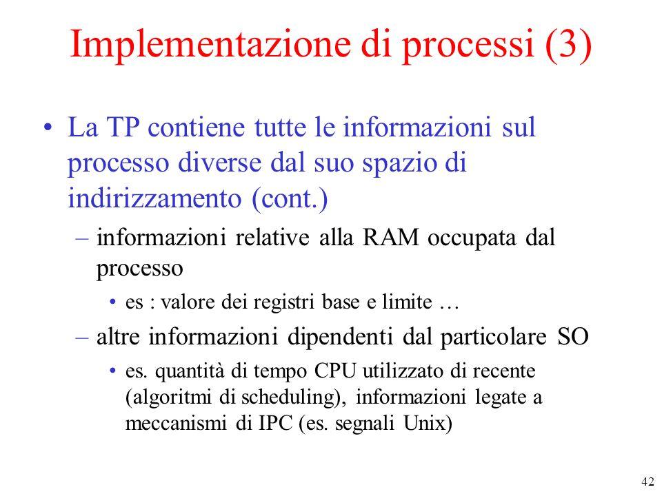 Implementazione di processi (3)
