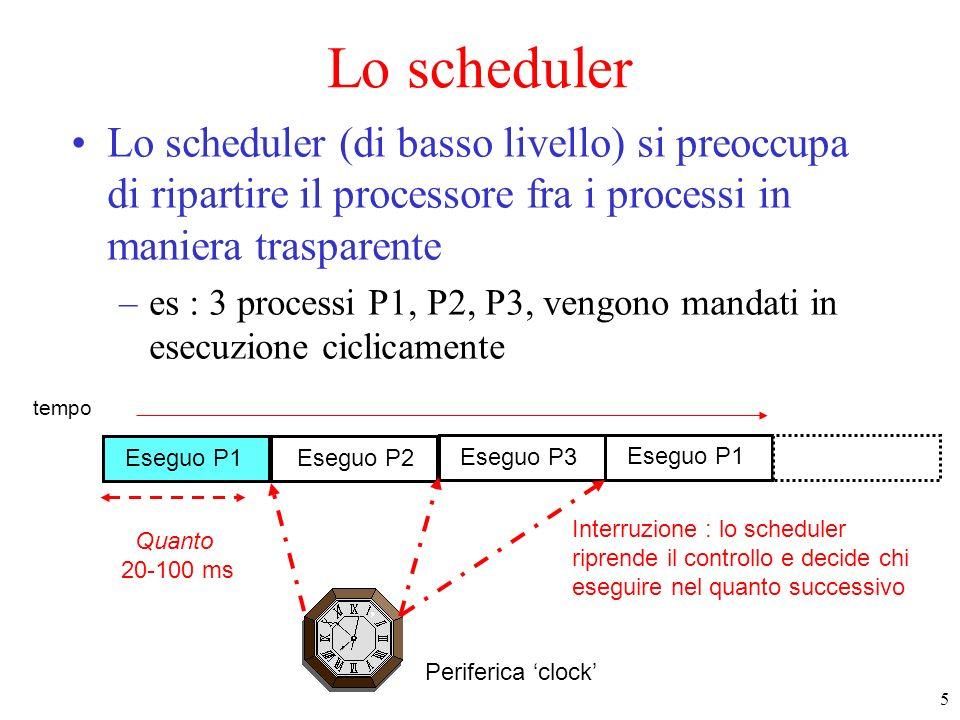 Lo scheduler Lo scheduler (di basso livello) si preoccupa di ripartire il processore fra i processi in maniera trasparente.