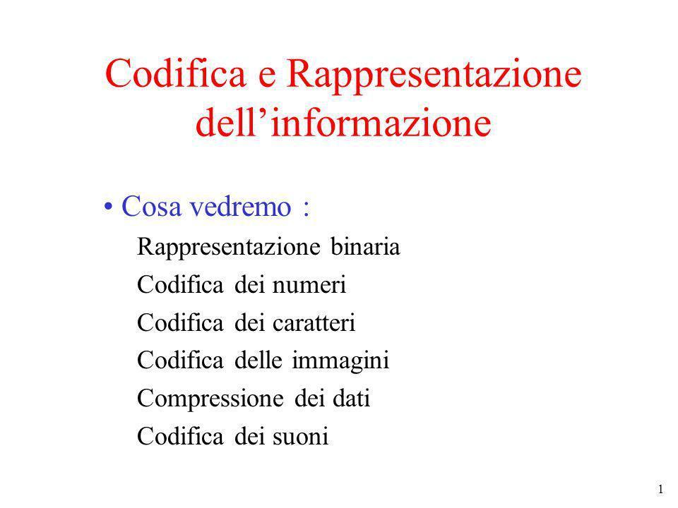Codifica e Rappresentazione dell'informazione