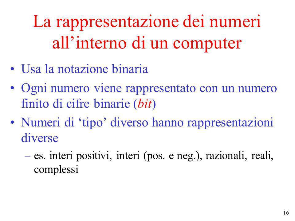 La rappresentazione dei numeri all'interno di un computer