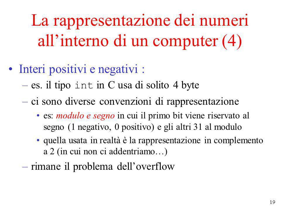 La rappresentazione dei numeri all'interno di un computer (4)
