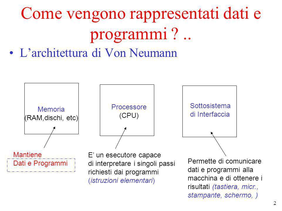 Come vengono rappresentati dati e programmi ..