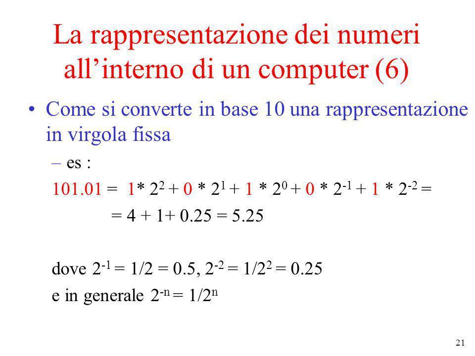 La rappresentazione dei numeri all'interno di un computer (6)