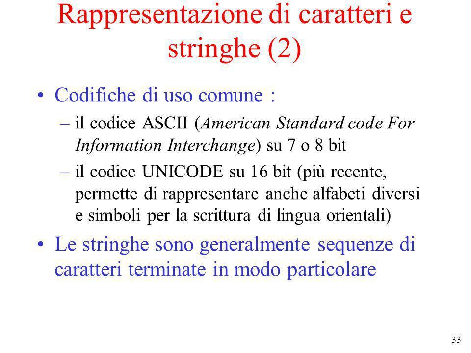 Rappresentazione di caratteri e stringhe (2)