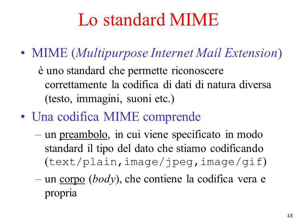 Lo standard MIME MIME (Multipurpose Internet Mail Extension)