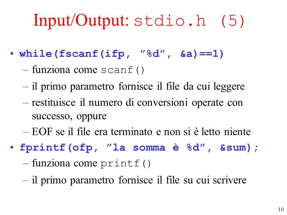 Input/Output: stdio.h (5)