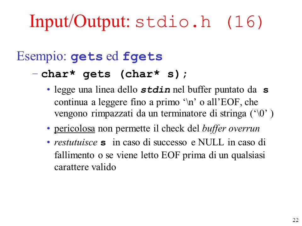 Input/Output: stdio.h (16)