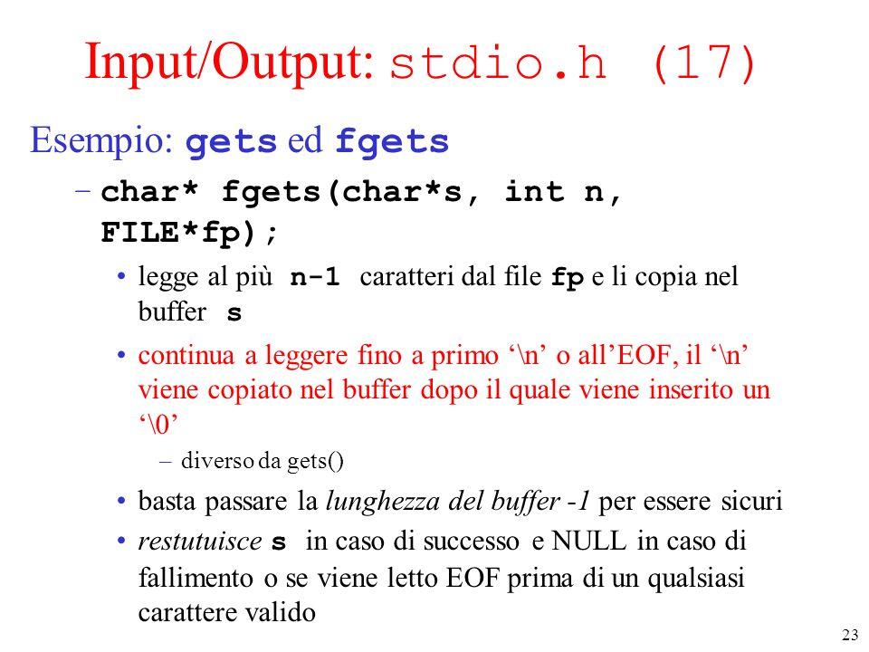 Input/Output: stdio.h (17)