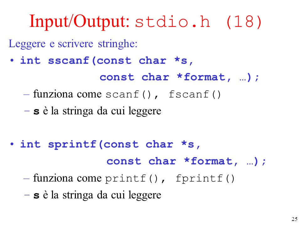 Input/Output: stdio.h (18)