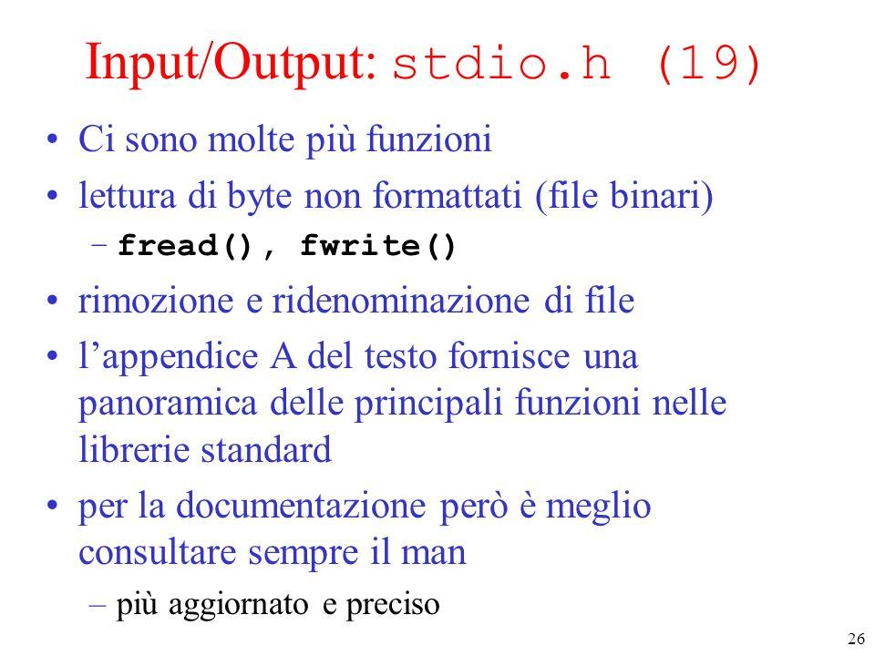Input/Output: stdio.h (19)