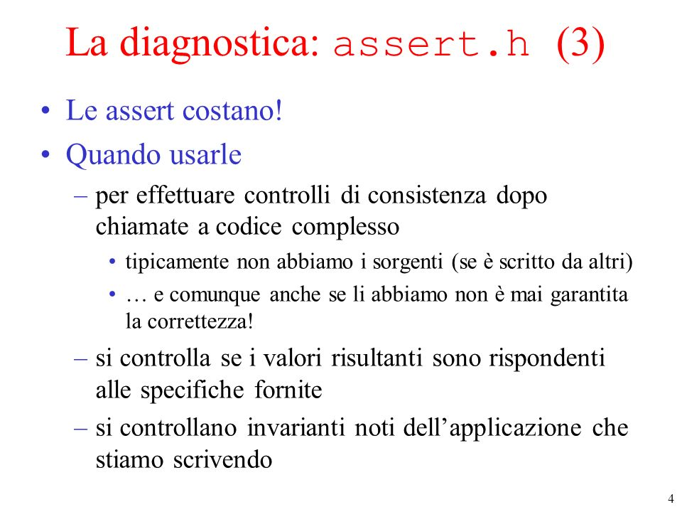 La diagnostica: assert.h (3)