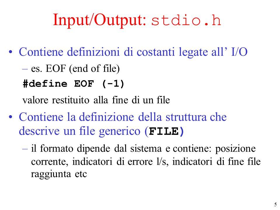 Input/Output: stdio.h Contiene definizioni di costanti legate all' I/O