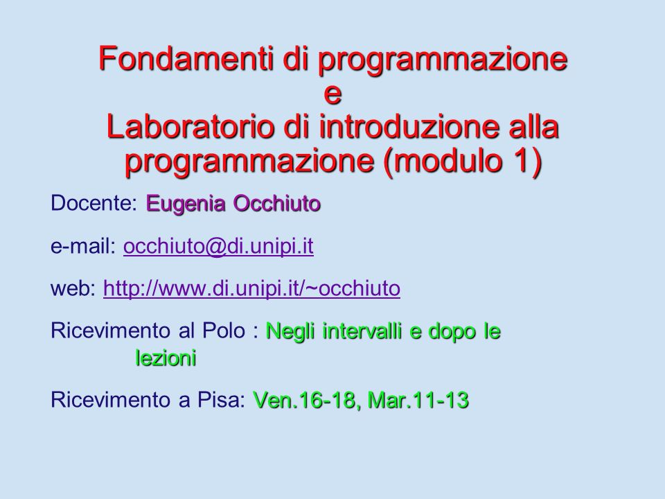 Fondamenti di programmazione e Laboratorio di introduzione alla programmazione (modulo 1)