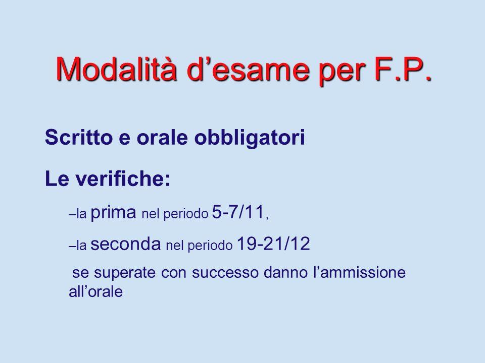Modalità d'esame per F.P.
