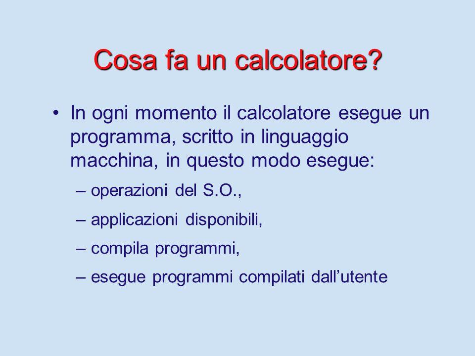 Cosa fa un calcolatore In ogni momento il calcolatore esegue un programma, scritto in linguaggio macchina, in questo modo esegue: