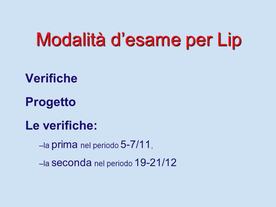 Modalità d'esame per Lip