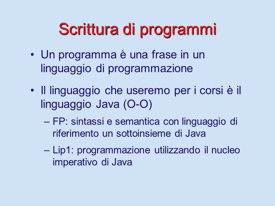 Scrittura di programmi