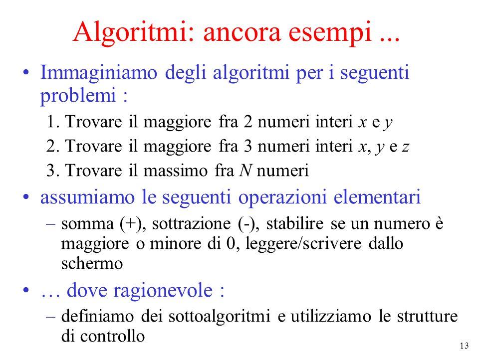 Algoritmi: ancora esempi ...
