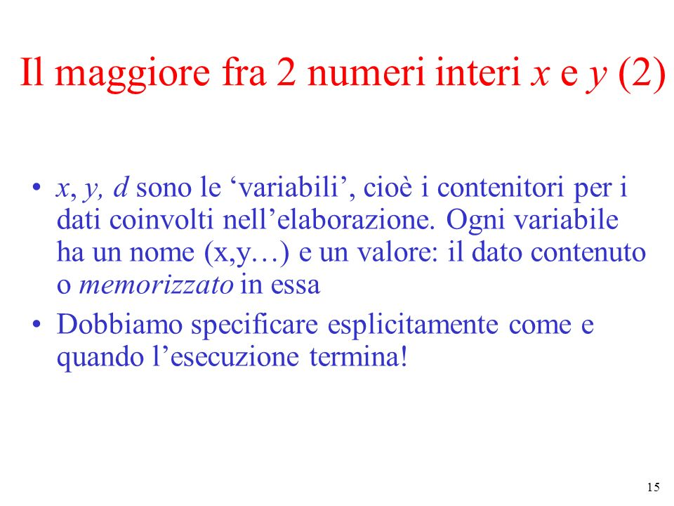 Il maggiore fra 2 numeri interi x e y (2)