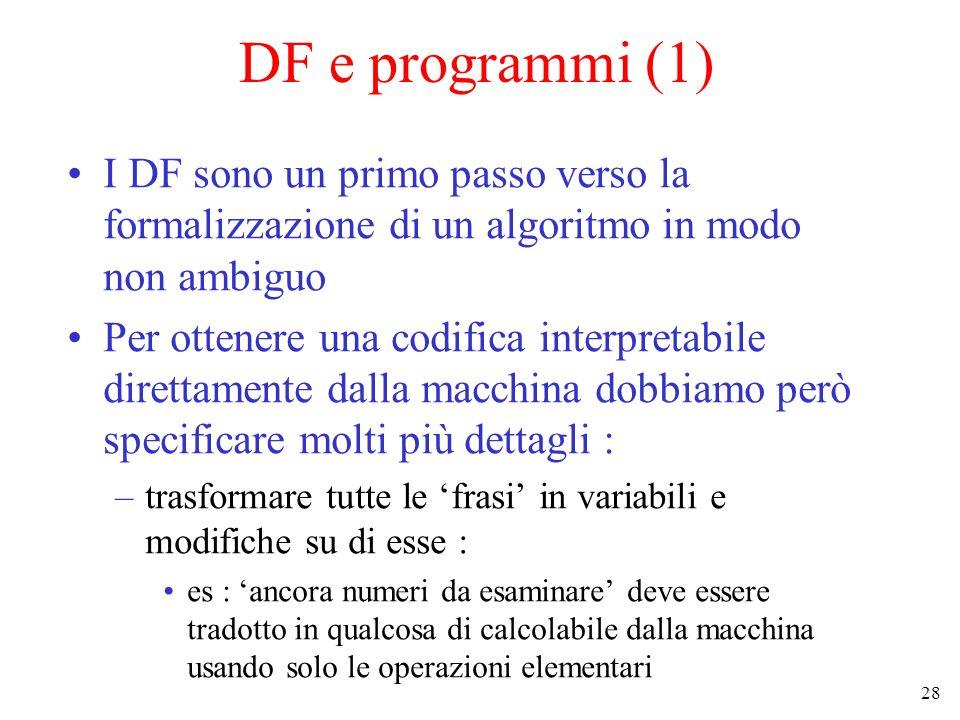 DF e programmi (1) I DF sono un primo passo verso la formalizzazione di un algoritmo in modo non ambiguo.