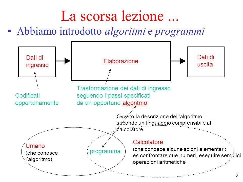 La scorsa lezione ... Abbiamo introdotto algoritmi e programmi