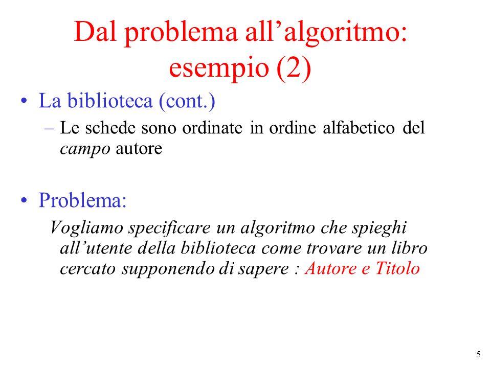 Dal problema all'algoritmo: esempio (2)