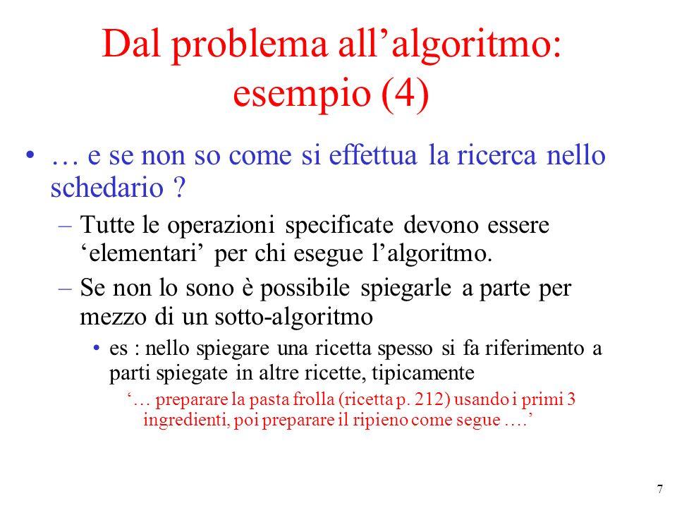 Dal problema all'algoritmo: esempio (4)