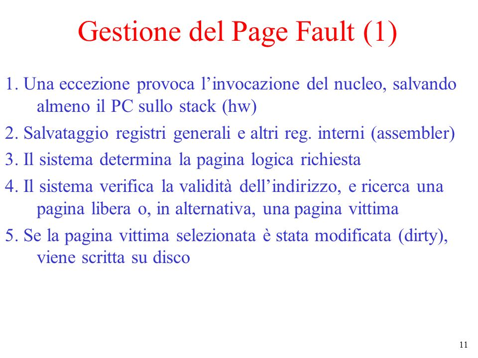 Gestione del Page Fault (1)