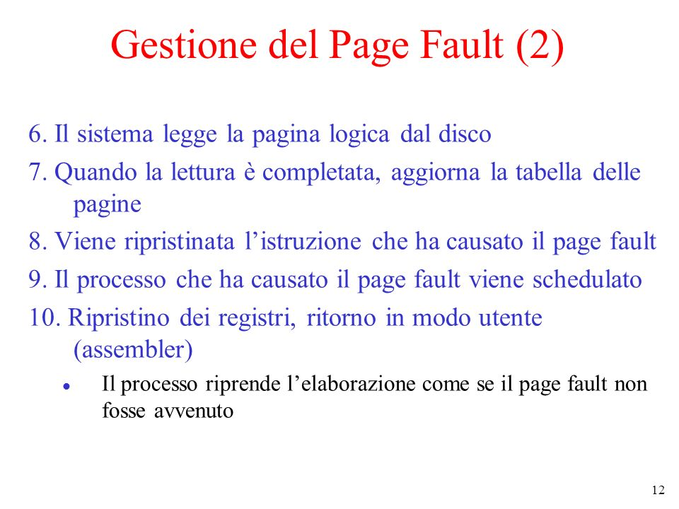 Gestione del Page Fault (2)