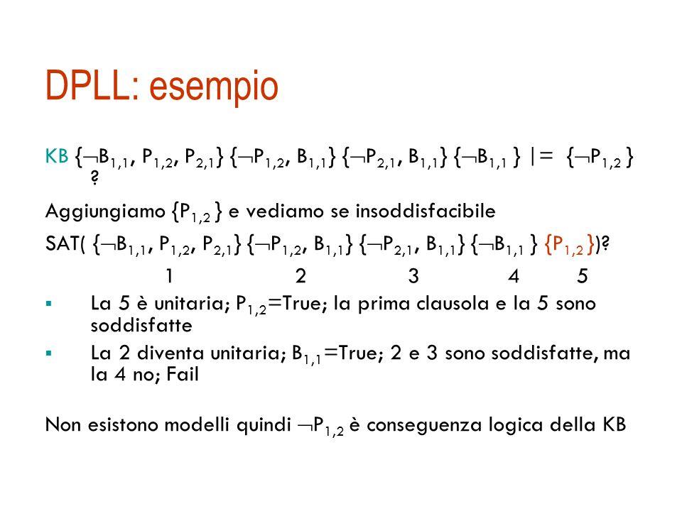 DPLL: simboli puriSimbolo puro: un simbolo che appare con lo stesso segno in tutte le clausole. Es. {A, ¬B} {¬B, ¬C} {C, A} A è puro, B anche.