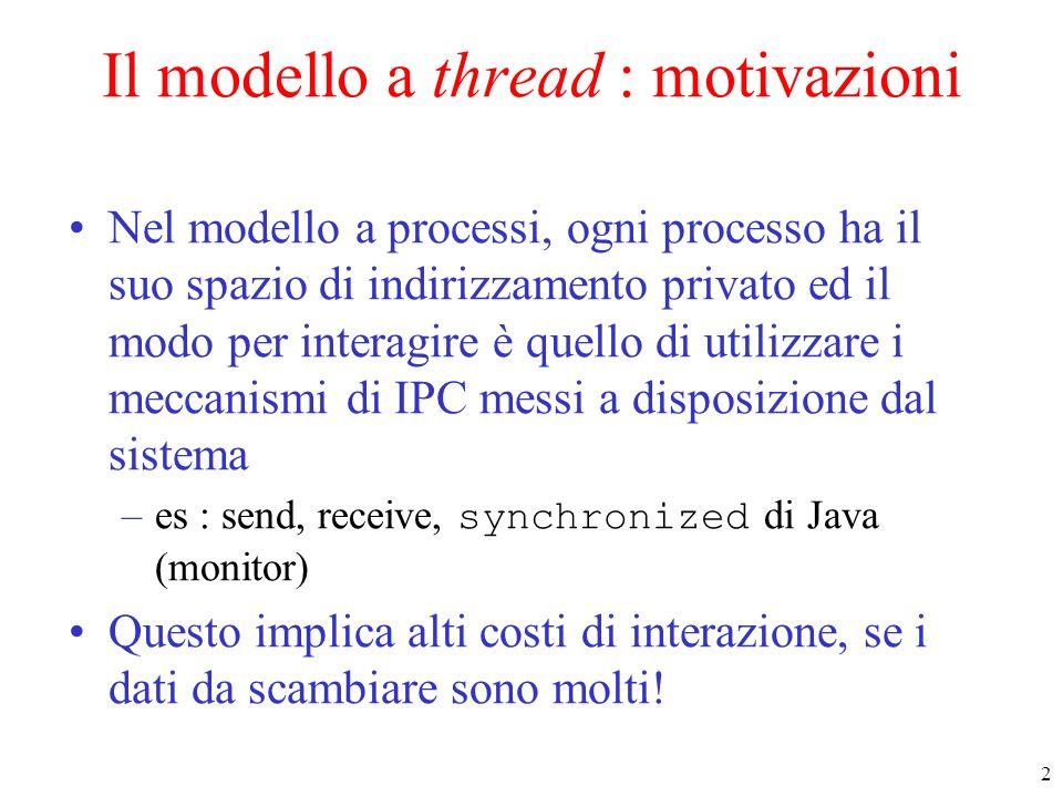Il modello a thread : motivazioni