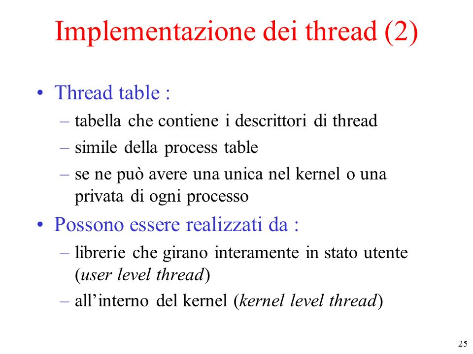 Implementazione dei thread (2)