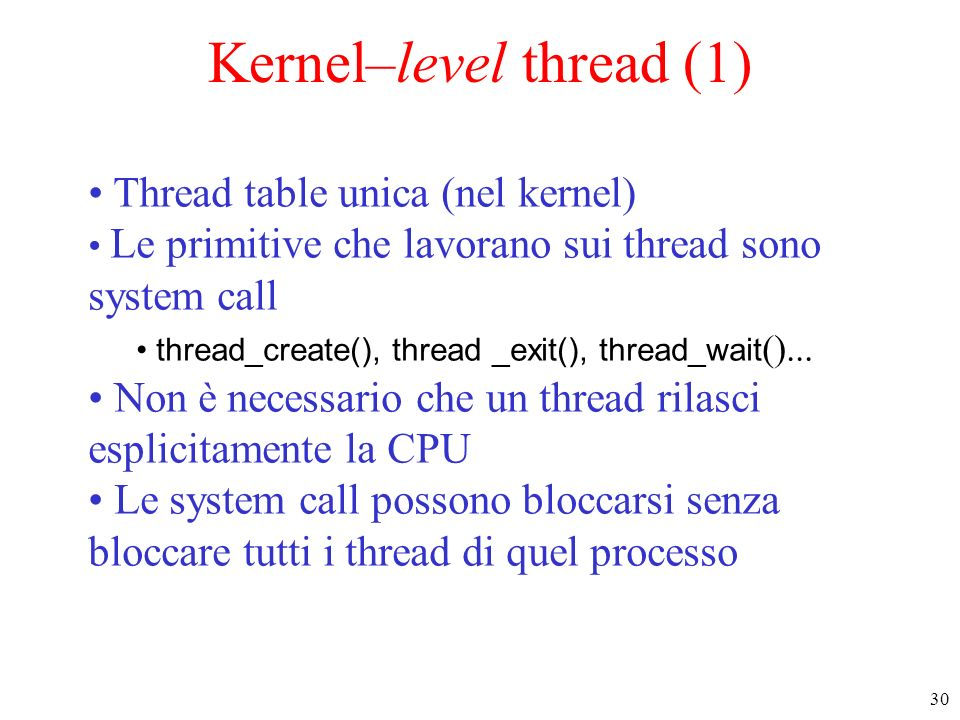 Kernel–level thread (1)